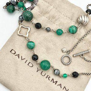 David Yurman Bijoux Malachite & Onyx Bead Necklace